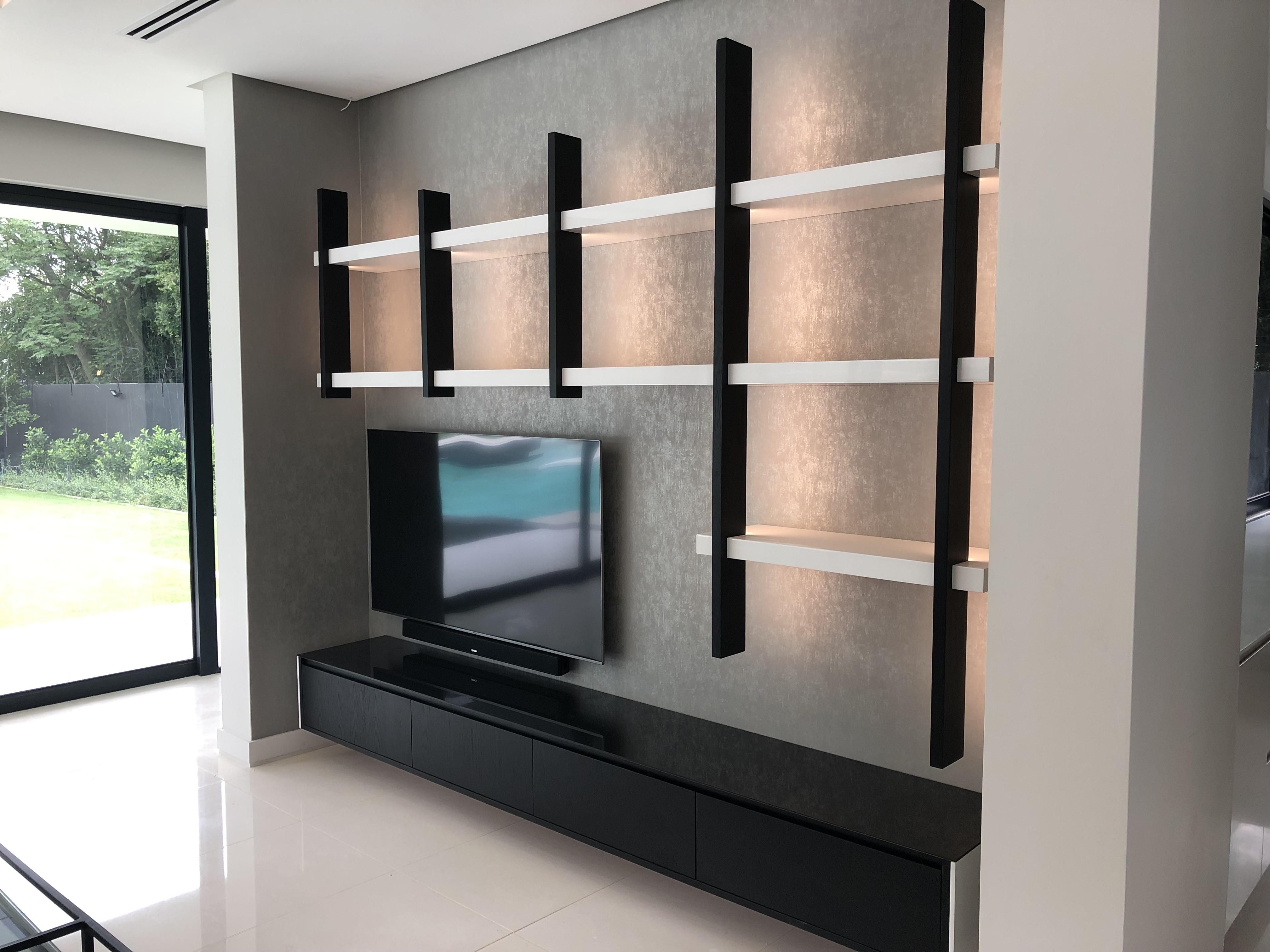 Tv Unit with Backlit Shelving